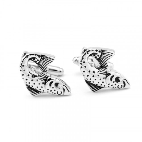 Запонки с рыбками Vintage Antique Silver Fish Bow Tie House 06489