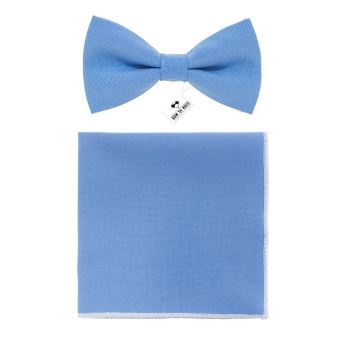 Бабочка голубая Light Blue с платком - габардин Bow Tie House 09688