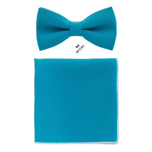 Бабочка синяя Avalon Teal с платком - габардин Bow Tie House 09690