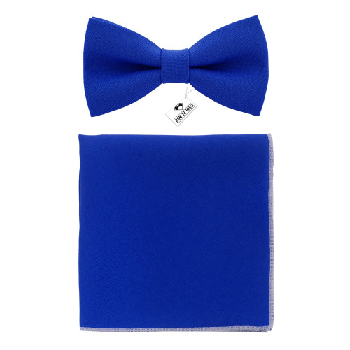 Бабочка синяя Royal Blue с платком - габардин Bow Tie House 09686