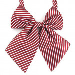 Women's bowtie cherry with white stripes