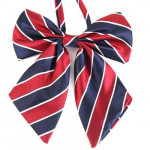 Women's blue bowtie with cherry stripes 02