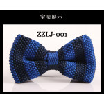 bowtie knitted blue stripes