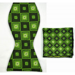 Green bow tie in a square scarf +